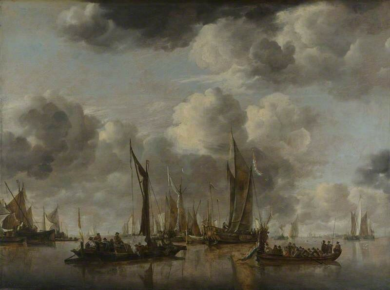 A Dutch Yacht firing a Salute as a Barge pulls away, and Many Small Vessels at Anchor