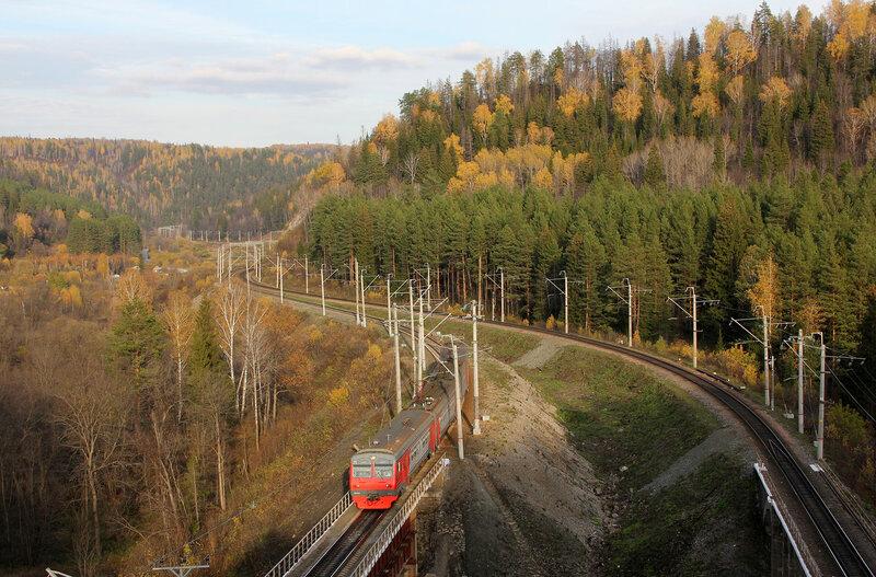 ЭД4М-0094 рабочим поездом Кропачёво - Аша на перегоне Симская - Биянка
