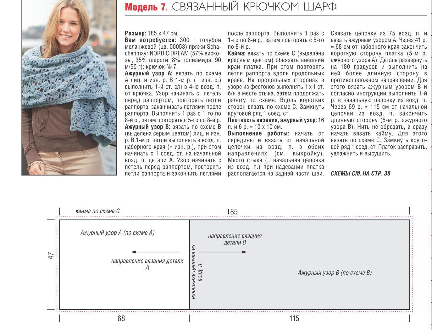 Схемы вязания ажурных шарфов