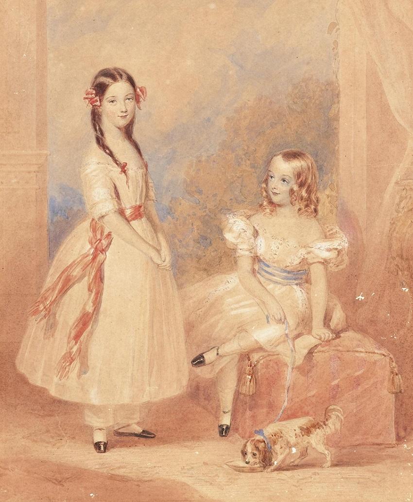 Josef Kriehuber(1800-1876) Umkreis/Circle Porträt zweier Schwestern in weißen Kleidern mit blauer und roter Schärpe, vor Landschaftshintergrund, Aquarell auf Papie