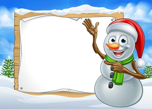 Santa Hat Snowman Cartoon Christmas Sign