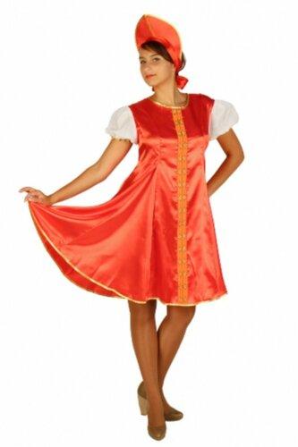 Женский карнавальный костюм Царевна красный