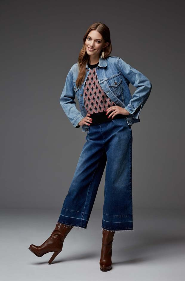 Denim trucker jacket Levi's Red Tab sleeveless sweater Tessa denim trousers Tommy Hilfiger earrings
