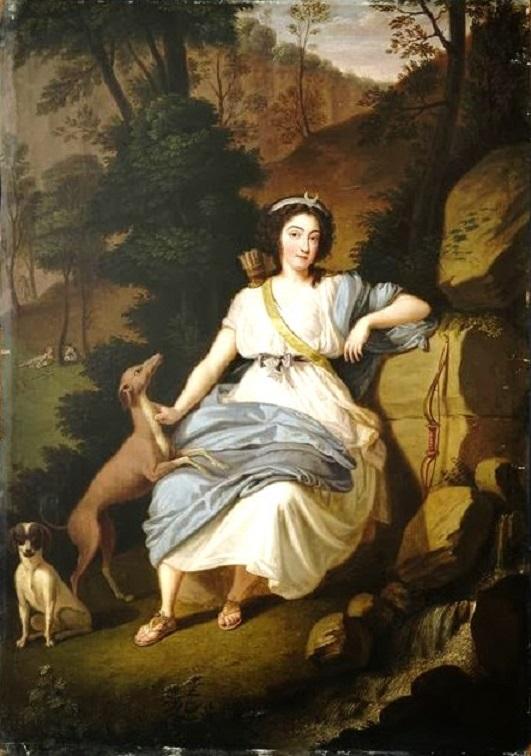 +1787 Ludwig Guttenbrunn (Austrian artist, 1750-1819) A portrait of Marie Joséphine de Savoy, the comtesse de Provence as Diana.jpg