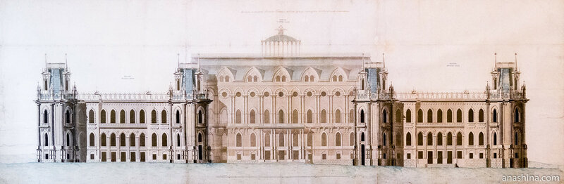 Фасад северной стороны главного корпуса дворца, строящегося в селе Царицыно близ Москвы. Лист из Альбома казенных строений №7 Казакова М.Ф., начало 1800-х годов