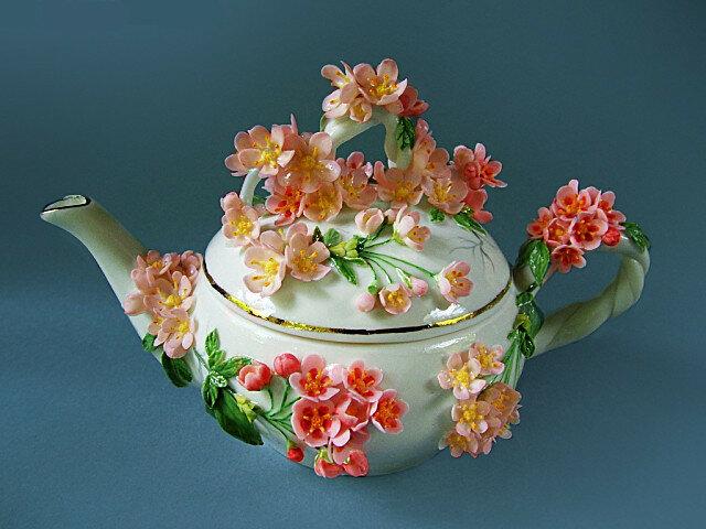 """Чайник """"яблоневый цвет"""". Фарфор Светланы Орешкиной"""