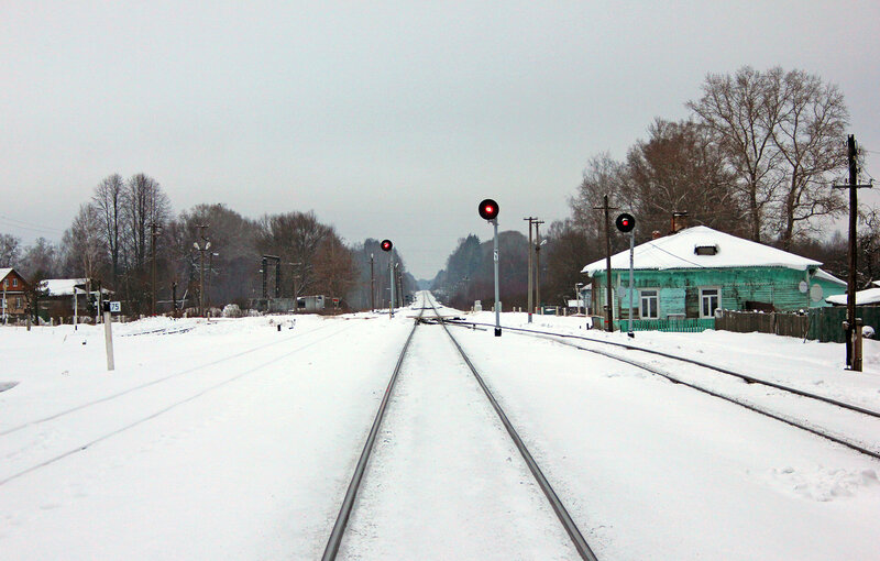 Группа чётных выходных прожекторных светофоров на станции Высокое, вид на Торжок