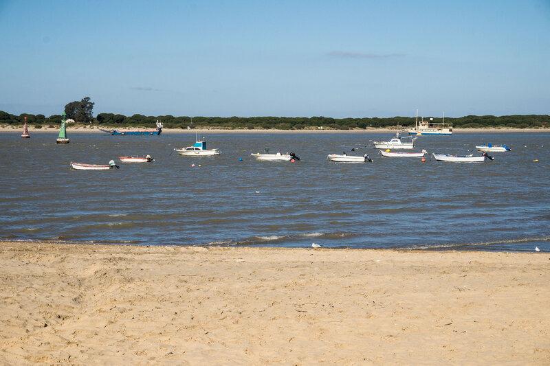 рыбачьи лодки в устье Гвадалквивира в Санлукар де баррамеда (sanlucar de barrameda)