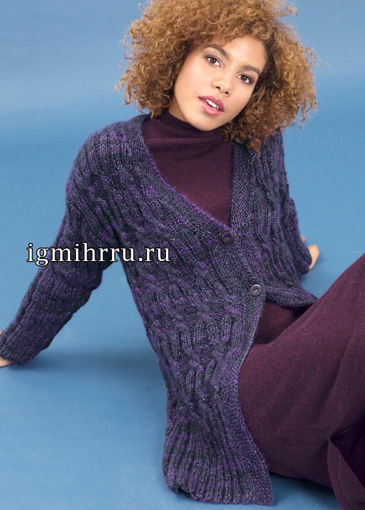 Фиолетовый меланжевый жакет с узором из кос. Вязание спицами