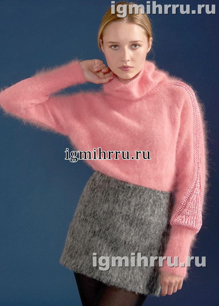 Теплый пушистый свитер розового цвета, с красивым декором. Вязание спицами