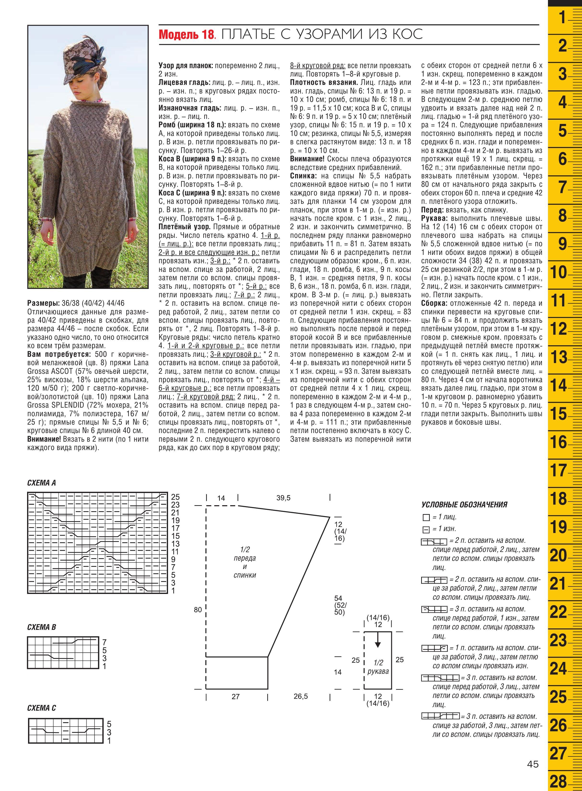 Схемы узоров с описанием для вязания круговыми спицами 38