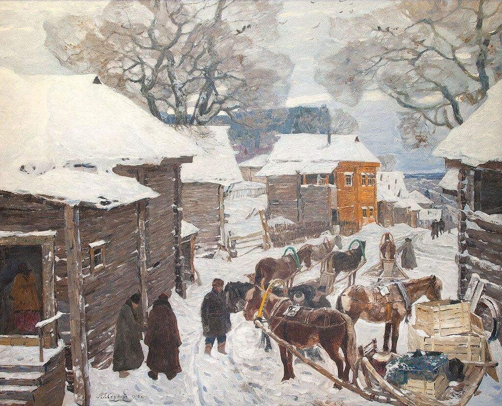 Подводы на улице старой Москвы зимой 1913.jpg