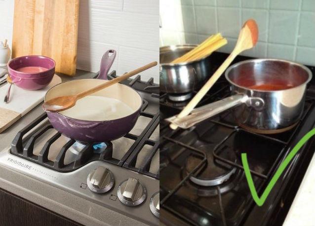 Часто, когда мы готовим, то кладем ложку на кастрюлю или около нее. Лайфхак: у некоторой посуды есть