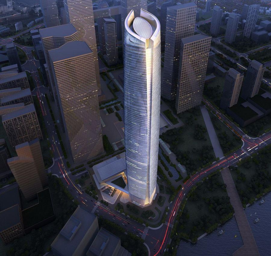 5. Wuhan Center Tower (высота 438 метров) — небоскреб в китайском городе Ухань На создание изогнутой