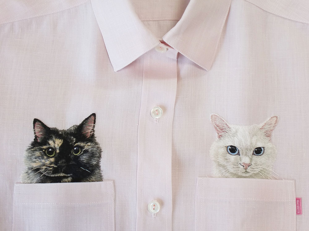 New Custom-Embroidered Pets in Pockets by Hiroko Kubota