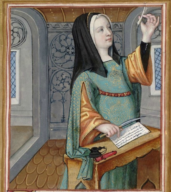 Phaedra, examining the point of her pen -- Huntington Library Ms HM 60, f°17 Les XXI Epistres des Dames illustres traduicttes d'Ovide par le Reverend P.jpg