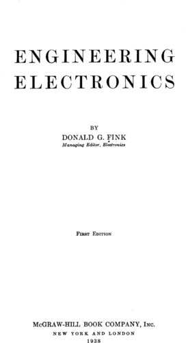 Engineering Electronics - Donald Fink - Book Cover
