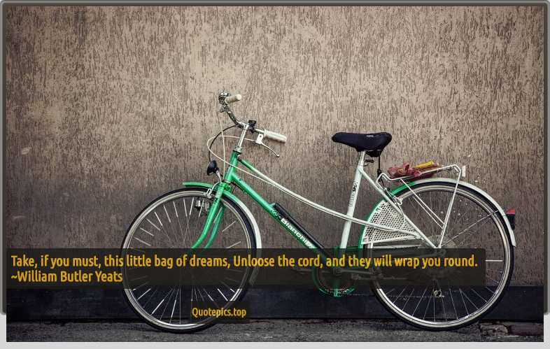 Take, if you must, this little bag of dreams, Unloose the cord, and they will wrap you round. ~William Butler Yeats
