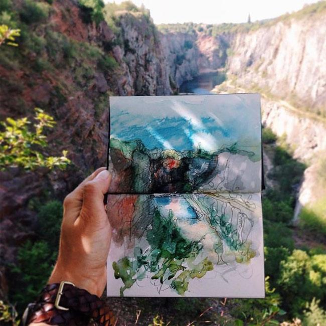 Artista registra viagem com um desenho por dia (6 pics)