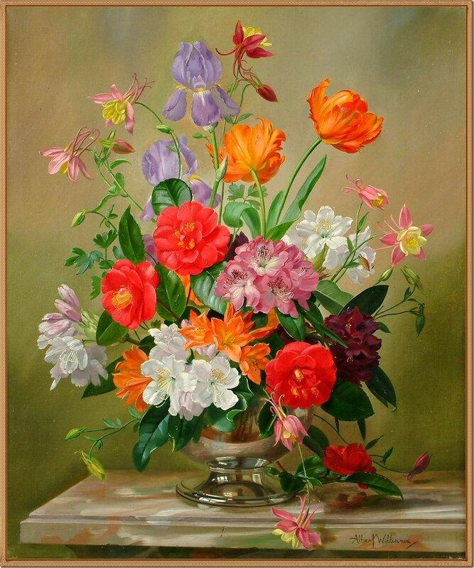 Натюрморт с цветами (Still life of Irises, Tulips, Aqualegia, Camellias and Rhodedendrums)_61 x 51_х.,м._Частное собрание.jpg