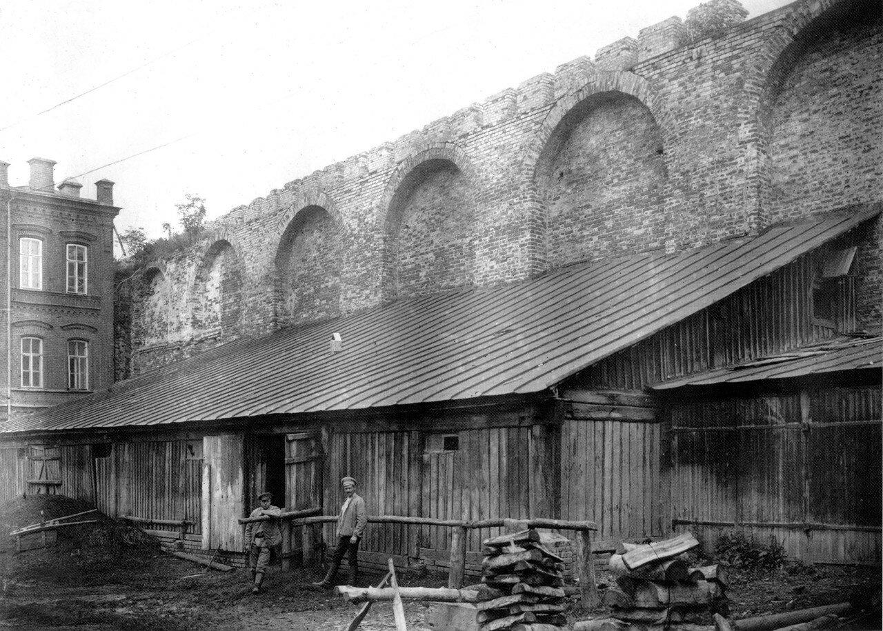 Застройка трехсаженной охранной зоны крепостной стены у богадельни Ланина. 1909