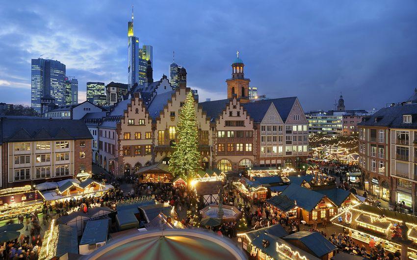 Новый год, праздник, город, ёлка, украшения, арты