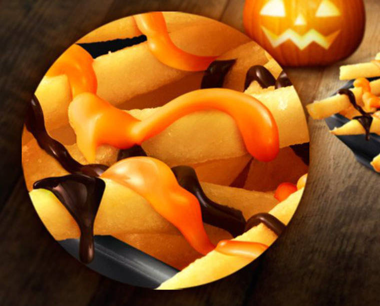 French fries with pumpkin-chocolate sauce for McDonald's Japan