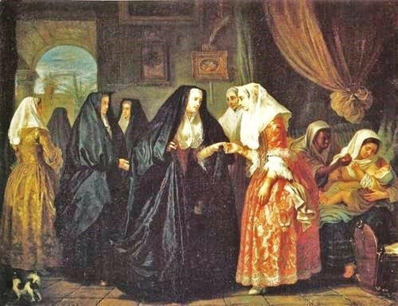 4 Antoine de Favray (French painter, 1706-1792) Dames de Malte se faisant visite 1763.jpg