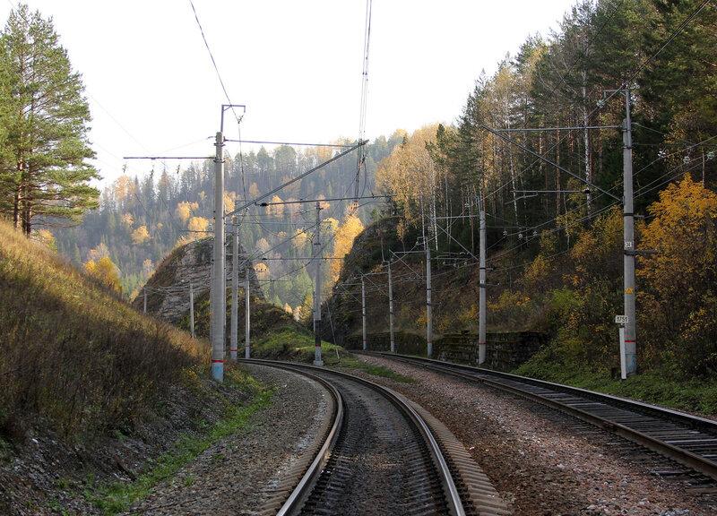 Скалы на перегоне Биянка - Симская, возле моста через реку Сим