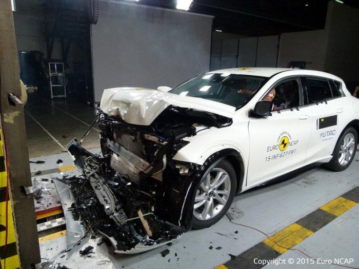 Infiniti Q30 после фронтального удара. Лучший небольшой семейный автомобиль по рейтингу Euro NCAP &n