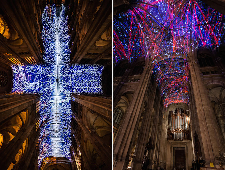 Virtual Reality Sky on a Church Ceiling in Paris