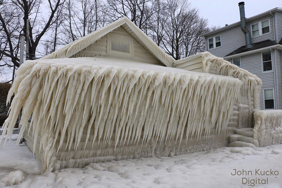 A House Encased in Ice on the Shores of Lake Ontario