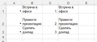 Рис. 2. Использование дополнительного столбца для маркированного или нумерованного списка