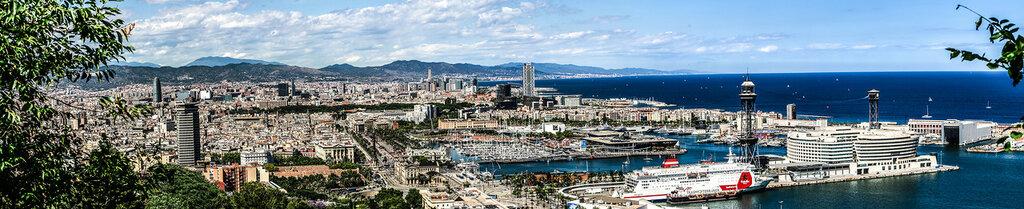 Барселона с высоты птичьего полёта - панорама