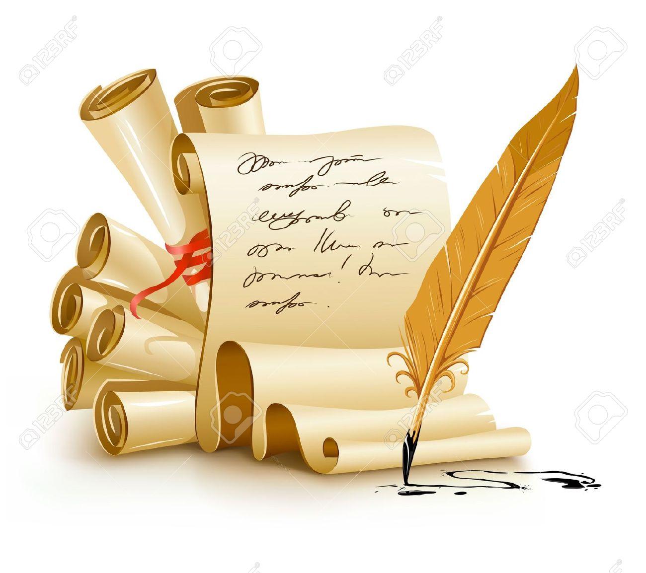 С днем поэзии! Свитки со стихами и перо открытки фото рисунки картинки поздравления
