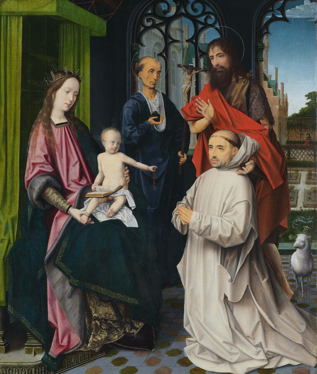 The Virgin and Child enthroned, with Sts Jerome and John the Baptist and a kneeling Carthusian monk, attributed to Jan Provoost