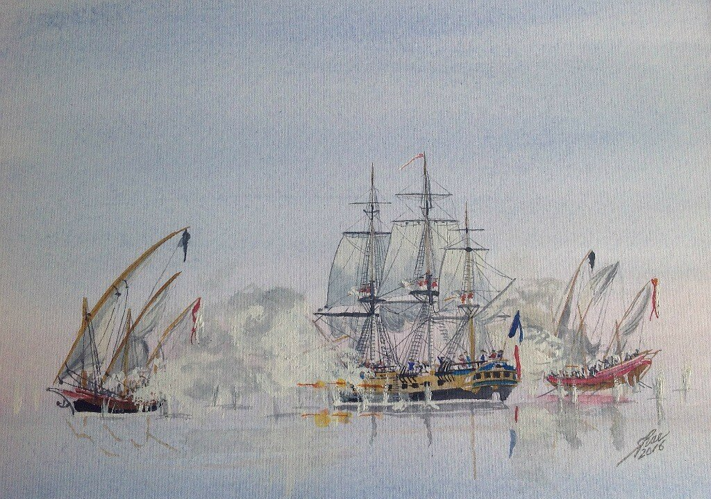 Barbary Pirates attacking a French Frigate.