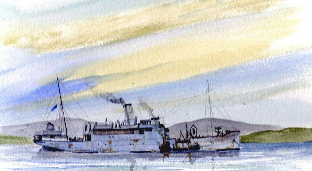 Here is a small watercolour of the DP&L ship Perth as a Convoy Rescue Ship.