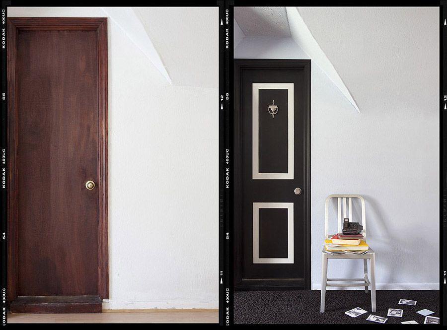 15. Обычную старую дверь можно преобразовать с помощью краски и изоленты.