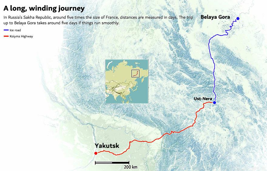 Половина пути из Якутска, одного из крупнейших городов региона, в Белую Гору проходила по автодороге