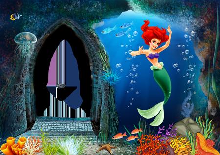 Детская фоторамка с русалочкой Ариэль в подводном мире