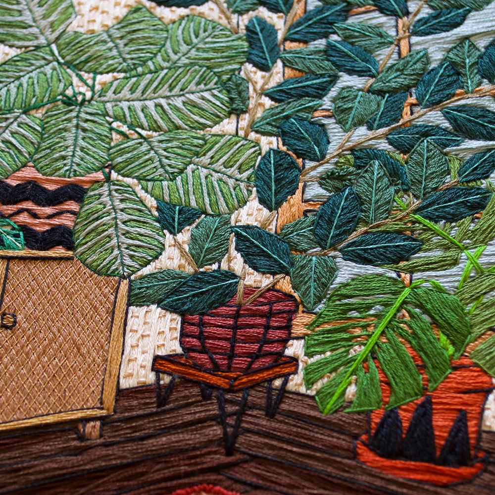 Stylish Embroidered Houseplants and Interiors by Sarah K. Benning
