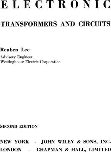 Electronic Transformers and Circuits - Reuben Lee - Book Cover