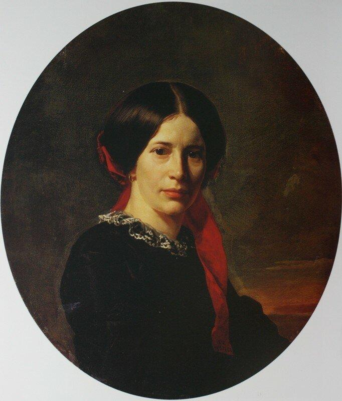 Портрет молодой женщины в черном бархатном  платье   1857            Государственный Русский музей.