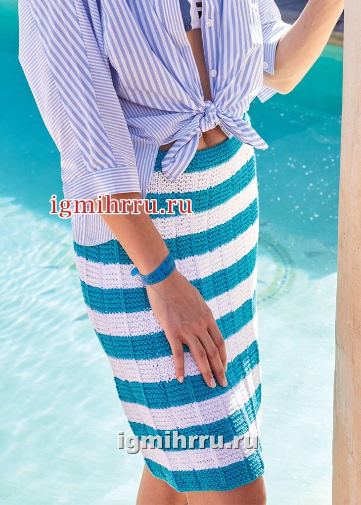 Двухцветная юбка в горизонтальную полоску. Вязание спицами
