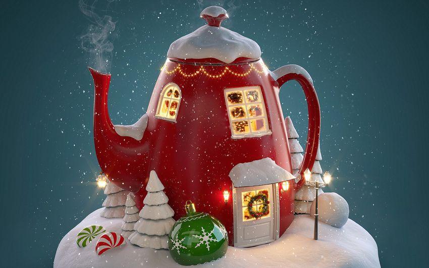 Новый год, подарки, сказка, сказочный домик