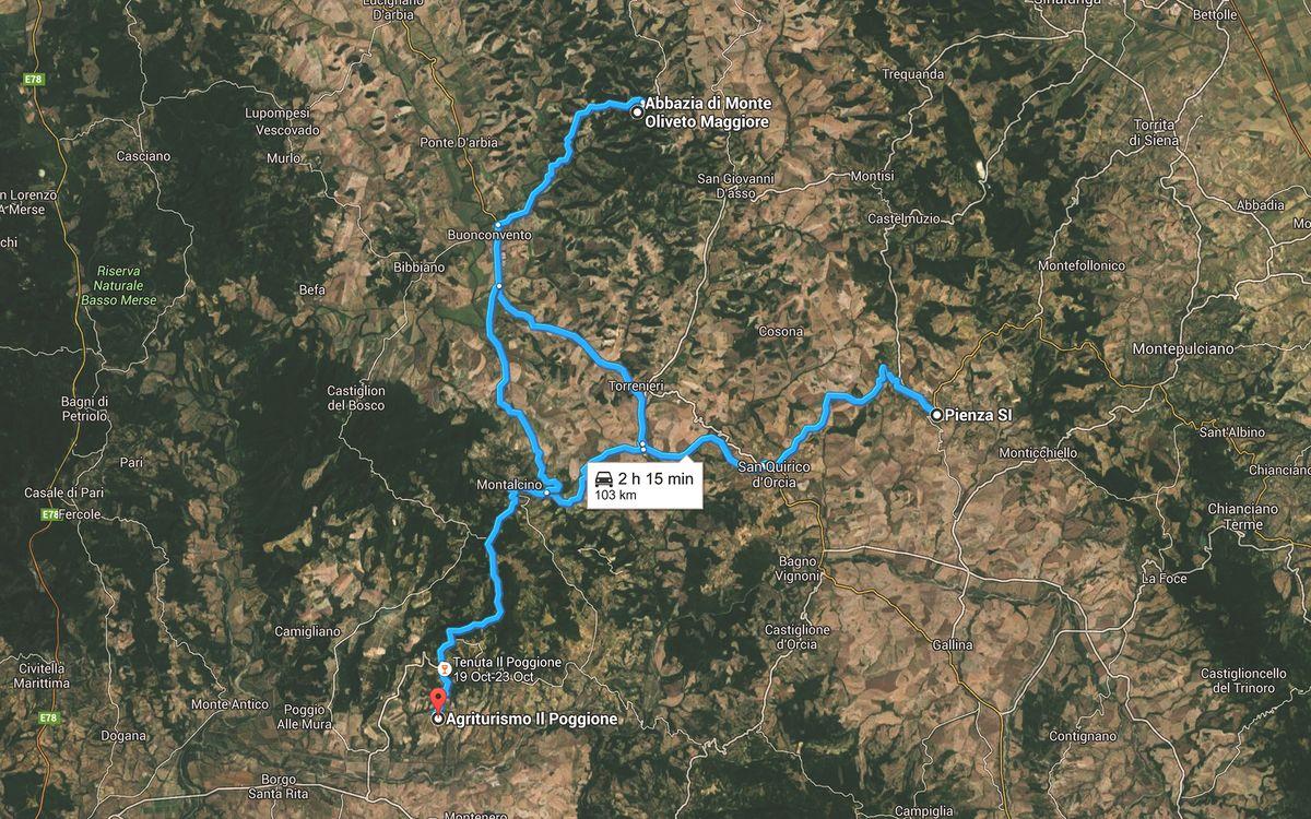 Перед каждым выездом намечался маршрут, и на третий день он был таков. Из дома в Пиенцу, оттуда в аб