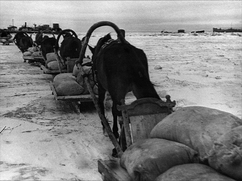 Обоз с зерном направляется для перегрузки на суда, доставляющие зерно в Ленинград. 4 декабря 1941 г.