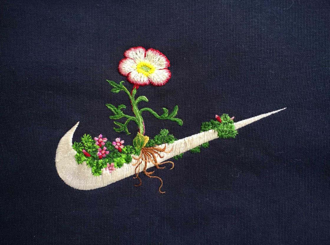 Broder des fleurs sur les logos des marques celebres (14 pics)