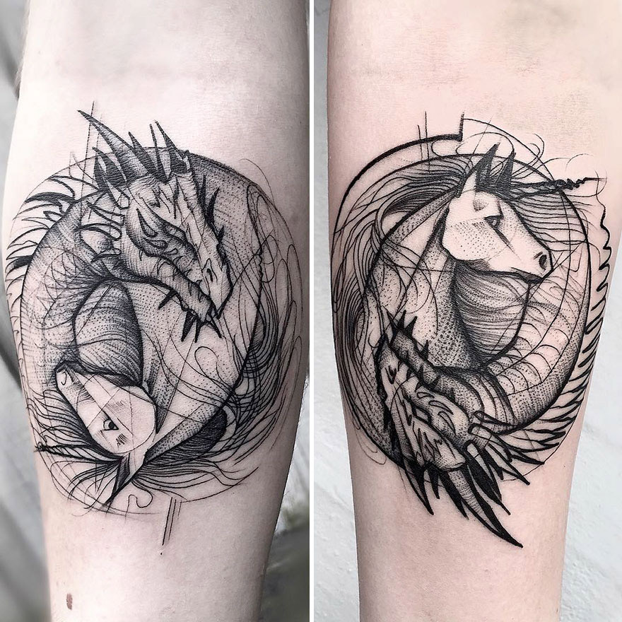 A Beleza das Tatuagens em Estilo Rascunho de Frank Carrilho